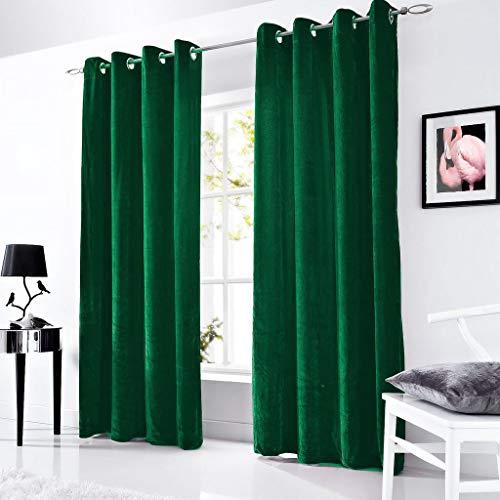 Eyelet Velvet - 1 Pc Velvet Lined Curtain Eyelet Panel Grommet Ringtop Luxurious Lined Curtain (Green, 56