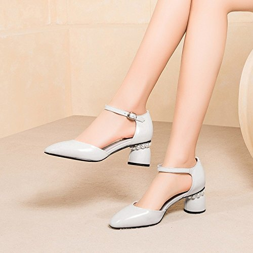 Strap Heel Block Ankle Women's For Mid Sandals White Party Dress Shoes Summer Low Evening Leather 8gU4I