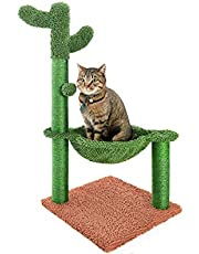 """Catinsider 31"""" Cactus Cat Tree with Hammock and Full Wrapped Sisal Scratching Post for Small Cats Only Brown Medium"""