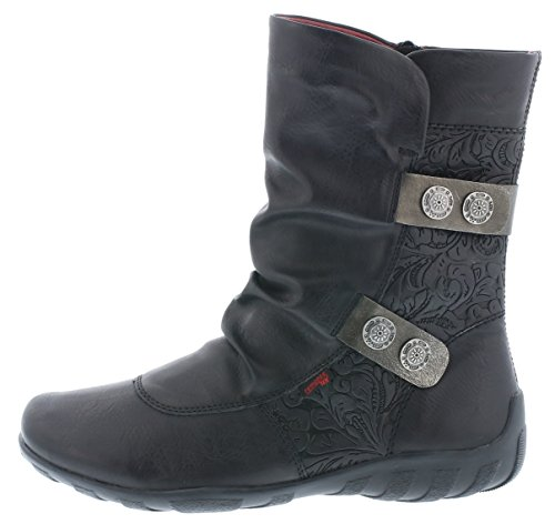 R1475 Damen Kurzschaft Schwarz Altsilber Stiefel 01 Remonte Uqdwx8ZU
