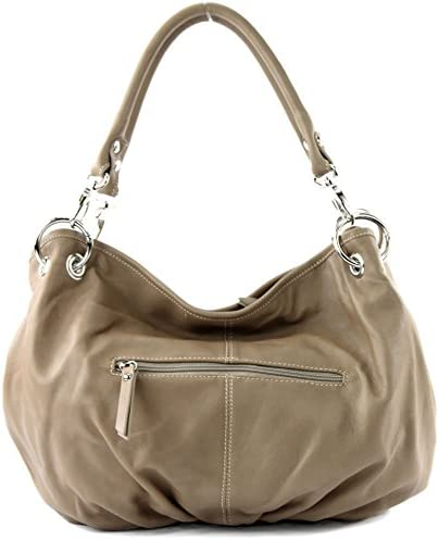 Borsa a tracolla da donna, pelle italiana, nappa IT40, Colore:scuro Beige