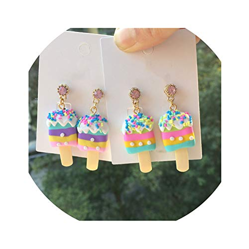 Colorful Candy Ice Cream Drop Earrings For Women Food Jewelry Summer Holiday Ice Cream Earrings,Purple