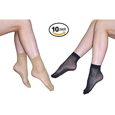 10 Pack Womens Ankle High Sheer Socks 20 DEN Black 5 Pairs Nude 5 Pairs