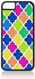 Bold Colors Morrocan Lattice Pattern- Case for the Apple Iphone 5-5s Universal-Hard Black Plastic Outer Shell with Inner Soft Black Rubber Lining-(NOT 5C)