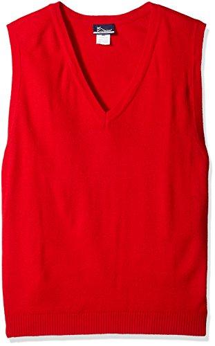 Classroom Men's Plus Size Adult Unisex V-Neck Sweater Vest, Red, 2XL