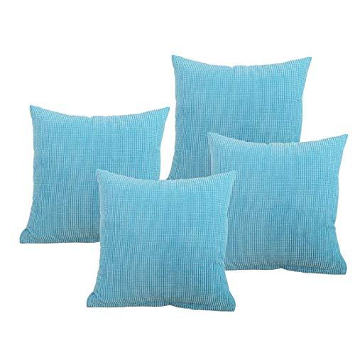 Pinji 4PCS Throw Pillow Cover Case Corduroy Plush Velvet Decorative Cushion Sofa Bedroom Car Sky Blue 55 x 55cm