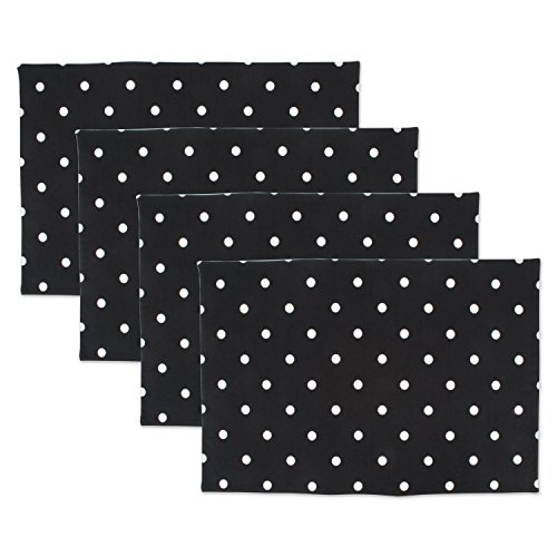 DII Z02029 Printed Reversible Polka Dot Cotton Napkin, Perfect for Brunch, Catering Events, Dinner Parties, Buffets, Spring Weddings or Everyday Use, Placemat, Black Base White 4 Pack (Black And White Polka Dot Dinner Plates)