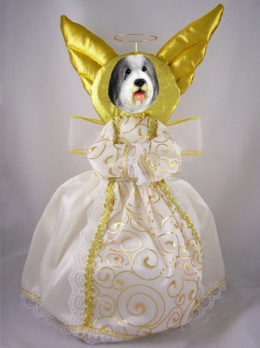 Bearded Collie Doogie Collection Angel Tree Topper (Collie Angel Ornament Dog)