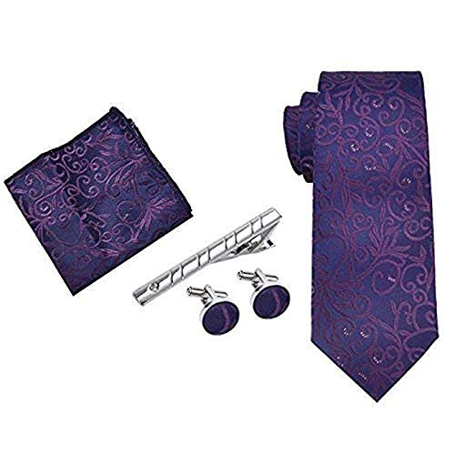 Mens Tie Set Woven Neck Tie Cufflinks Handkerchief Set for Valentine Wedding Necktie