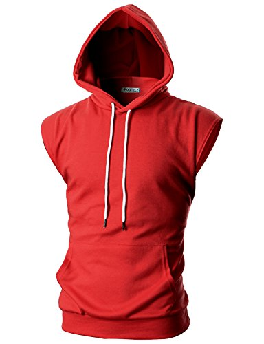 (OHOO Mens Slim Fit Sleeveless Lightweight Tank Tops with Hoodie /DCF014-RED-2XL)