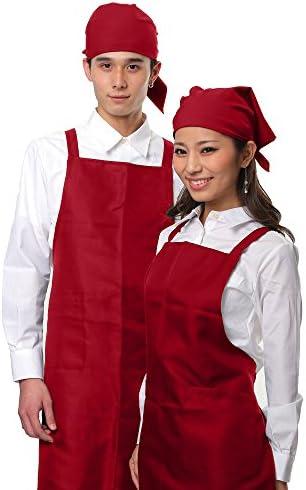 胸当てエプロン 三角巾 セット 選べる5カラー バンダナ シンプルエプロン (ワインレッド)