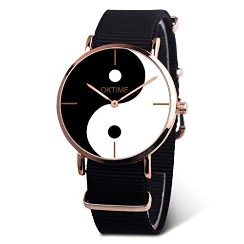 e Chinese Taoism Yin and Yang Dial Quartz Wrist Watch Canvas Band Analog Dress Watch Ideal Gift (Black) ()