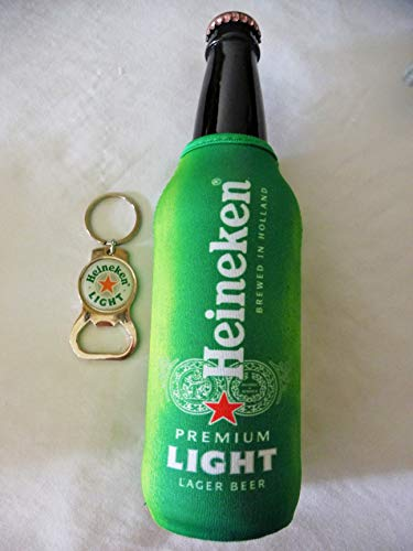 Heineken Light Neoprene Bottle Suit with Zipper and Bottle Opener/Key Chain Set - Bottle Koozie Cooler Coozie Coolie Huggie