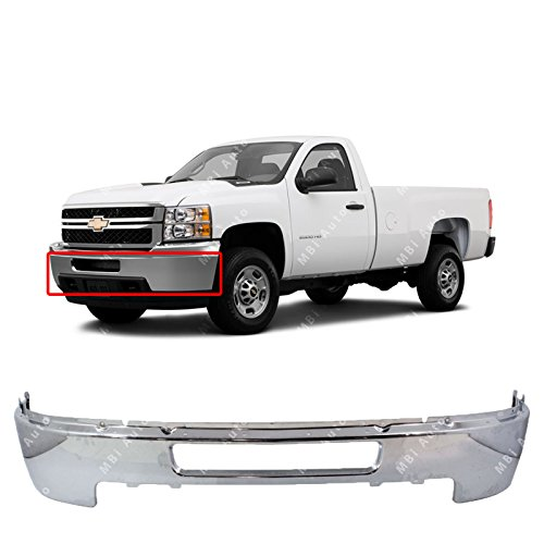 MBI AUTO - Chrome, Steel Front Bumper Face Bar for 2011 2012 2013 2014 Chevy Silverado 2500 3500 Heavy Duty Pickup 11-14, GM1002838
