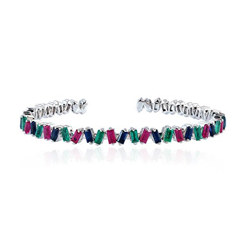 Mettlle Solid 18K White Gold Cuff Bangle Natural Ruby, Emerald & Sapphire Gemstone - Emerald Bracelet Ruby Sapphire