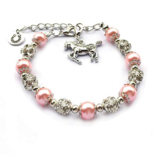 DOLON Crystal Horse Bracelet Horseshoe Charm Faux Pearl Bead Riding Lover Gift Pink