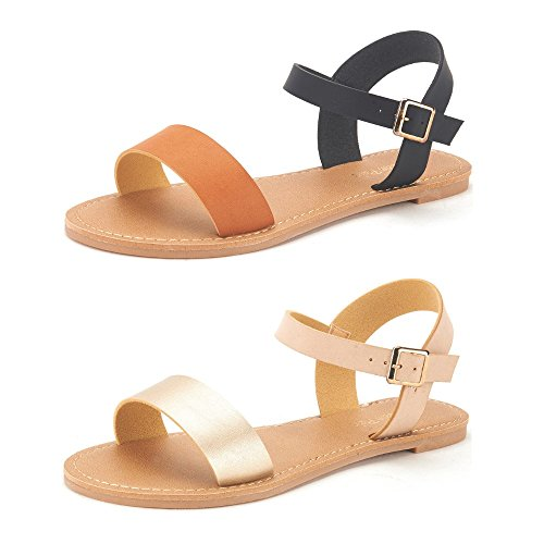 DREAM PAIRS Women's Hoboo-New Cute Open Toes One Band Ankle Strap Flexible Summer Flat Sandals 2 Pairs Black Tan and Gold Nude Size 7 Ankle Strap Wedding Sandals