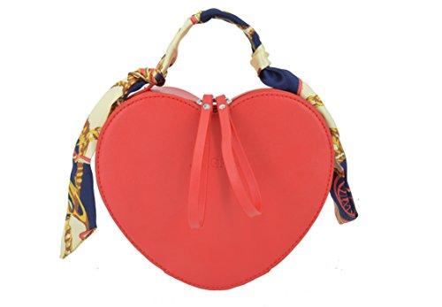 Elfjoy Women's Fashion Heart-Shaped PU Leather Handbag Crossbody Shoulder Bag wiht Silk Ribbon (Red) - Red Heart Handbag
