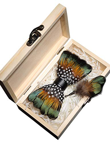 RBOCOTT Handmade Feather Pre-tied Bow tie and Brooch Sets for Men (green/yellow/white)