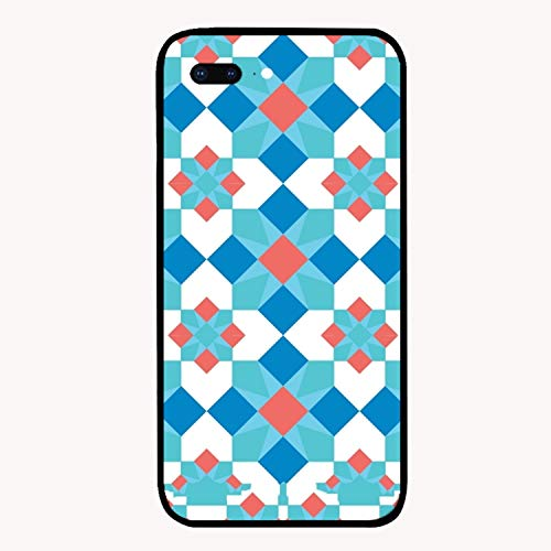 iPhone 7/8Plus Case,Mosaic Blue Red Mirror Bumper Cover Compatible for iPhone 7/8Plus