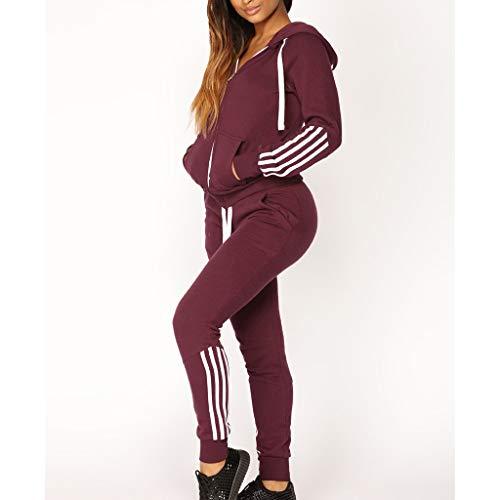 Casual Womens Hoodies Stripe Zipper Long Sleeves Pullover Sport Tops+Long Tracksuit Sweatshirt Pants Set by iLUGU (Image #2)