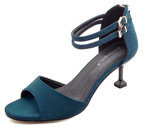 Aisun Bleu Femme Avec Bout Ouvert Sandales Classique Zip Boucles Deux rSqwya4r