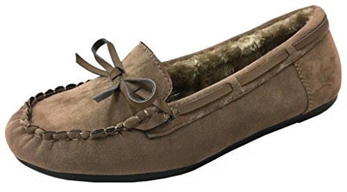 Blueberry Women' Faux Soft Suede Fur Lined Moccasin Loafer Slippers (Mocassin-21) Camel, 6