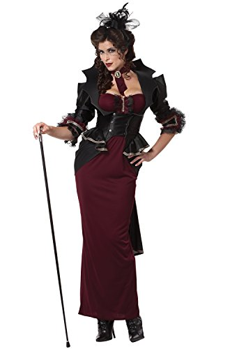 California Costumes Lady Of The Manor, Black/Burgundy, Medium (Lady Of The Manor Adult Costumes)
