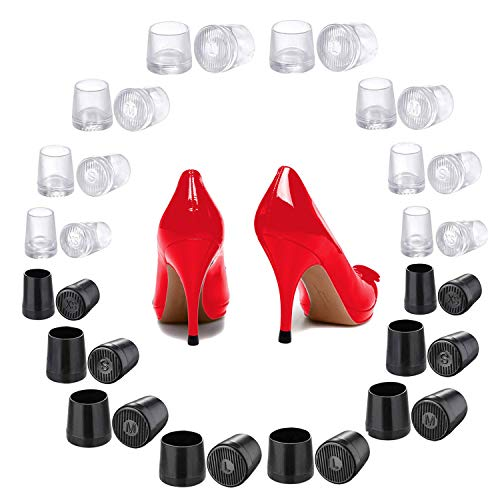 CBTONE 16 Pairs High Heel Protectors Heel Repair Caps Covers Replacement Heel for Wedding or Outdoor Event, Extra Small/Small/Medium/Large, Black and White(4 Size)