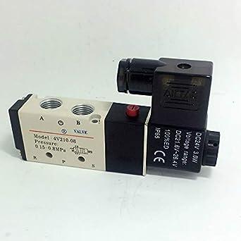 Voltage: DC24V Fincos 5 Way 2 Position 1//4 IP65 Pneumatic Air Directional Control Solenoid Valves DC 24V AC 220V 110V 12V 4V210-08 AirTac
