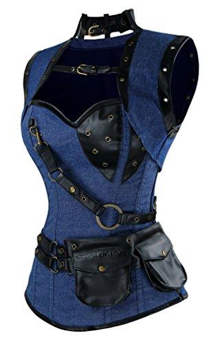 Charmian Women's Steampunk Spiral Steel Boned Vintage Retro corsé Tops Bustier Azul