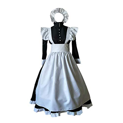 Women Edwardian Victorian Maid Dress Pilgrim Pioneer Costume Colonial with Apron (Women XXL, Dress) ()