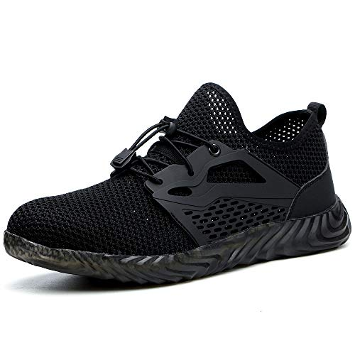 SUADEX Steel Toe Shoes for Women Men, Anti Slip Safety Shoes Breathable Lightweight Puncture Proof Work Construction Sneakers Black D Size 6-6.5