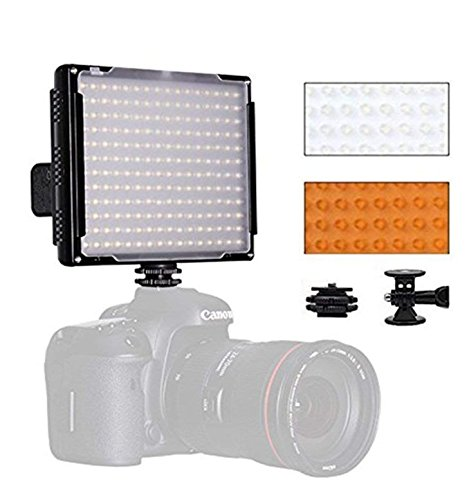 LED Video Light, Pixel 192 LED Ultra Bright Dimmable Camera Panel Light 5600K with Color Filters for Canon, Nikon, Pentax, Panasonic, Sony, Samsung, Olympus and All DSLR Cameras,No Battery (DL-918) by PIXEL