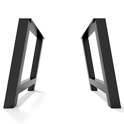 2x Gambe Tavolo ferro Industrial Design forma H inclinata Industrial Legs