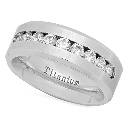The Bling Factory Men's Titanium 7mm Comfort Fit Wedding Ring w/Channel Set Cubic Zironia, Size 7 + Jewelry Polishing Cloth