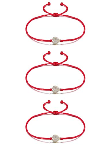 JINBAOYING Hamsa Evil Eye Bracelet with Cubic Zirconia String Kabbalah Adjustable Bracelet Handmade Charm Bracelets for Women Men Girls Boys (Heart Bracelet (Set of 3))