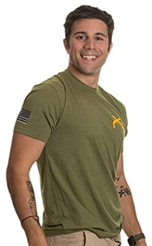Military Police Crossed Pistols & Sleeve Flag | U.S. Army Veteran MP Guns Shirt-(OD Green,L) - Military Vet Patch