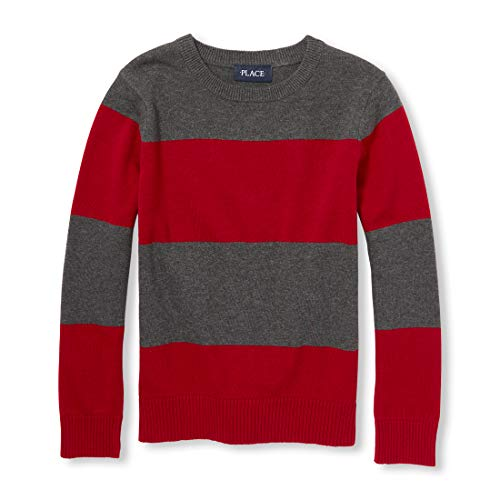 The Children's Place Big Boys' Kid Long Sleeve Stripe Sweater, Red Colonial, XS (4) -
