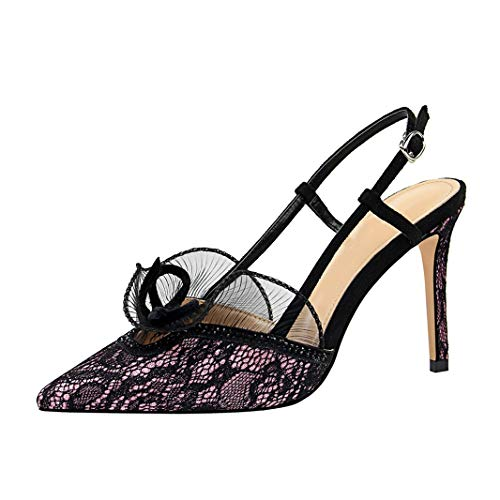 Drew Toby Women Pumps Fashion Sexy Banquet Pointed Toe Ankle Strap Lace Elegant High -