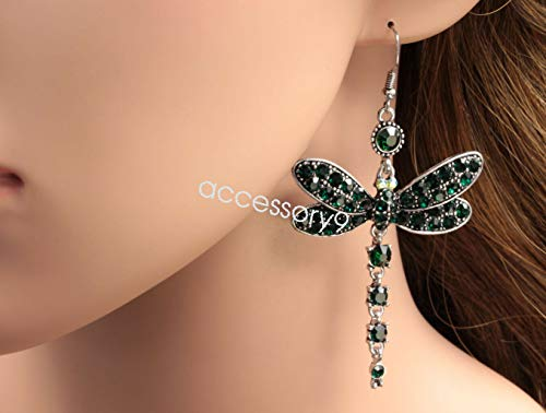 - LOVEFASIONTOOKTOOK Gorgeous Emerald Green Dragonfly Crystal Rhinestone Silver Plated Earrings B40