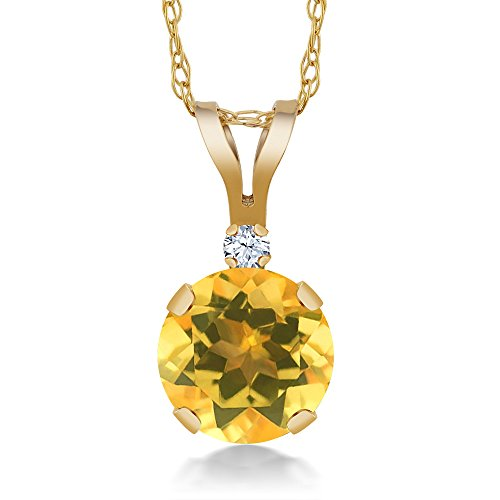 Gold Round Citrine Pendant (0.72 Ct Round Yellow Citrine White Created Sapphire 14K Yellow Gold Pendant)