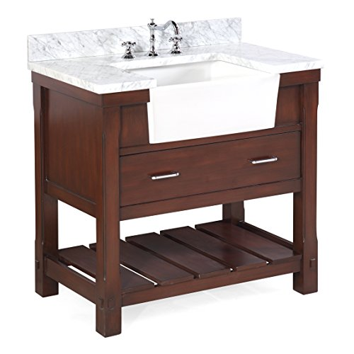 Charlotte 36-inch Bathroom Vanity (Carrara/Chocolate): Includes a Carrara Marble Countertop, Chocolate Cabinet with Soft Close Drawers, and White Ceramic Farmhouse Apron Sink