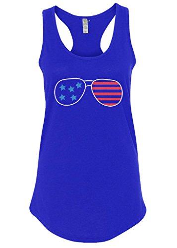 Mixtbrand Women's American Flag Sunglasses Racerback Tank Top XL - American Sunglasses Flag Tank