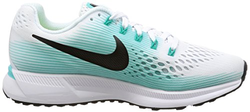 Nike Wmns Air Zoom Pegasus 34, Scarpe da Running Donna Bianco (White/Black/Aurora Green)