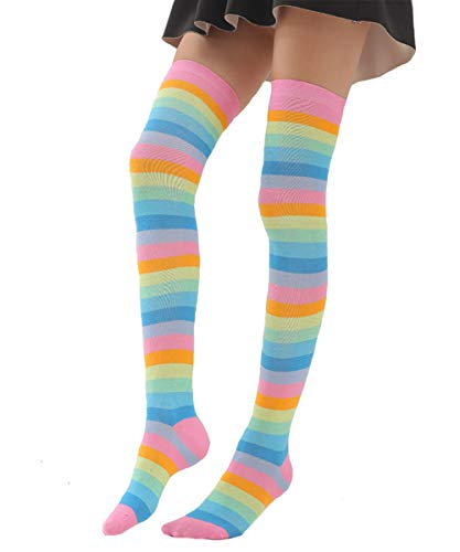 Womens Girls Long Striped Socks Girls Over Knee Thigh High Rainbow Crazy Funny Cute Costume Cosplay Party Stockings ()
