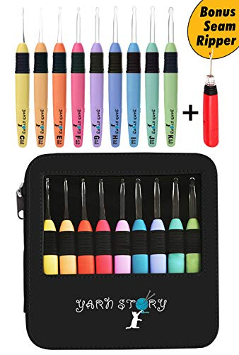 Lighted Crochet Hooks with Case Value Pack 9/pkg Set and Bonus Seam Ripper Lighted - LED Lite Hooks - Ergonomic Needles for Arthritic Hands & Organizer. Set of 9 Hooks Size 2,5mm to 6,5mm (Black)