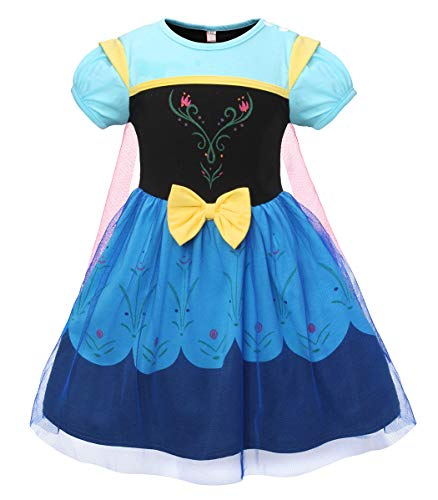 Cotrio Anna Princess Dress Up Toddler Girls Short Sleeve Sleepwear Dresses Kids Cotton Nightgowns Halloween Costumes Outfits with Cape 2-8 Years (4T, 3-4Yrs, Blue)