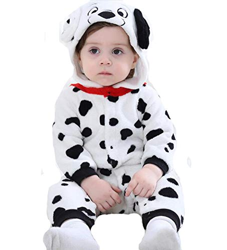 Tonwhar Baby Animal Bodysuit Halloween Costume (80 Ages 6-12 Months, Dalmatians) -