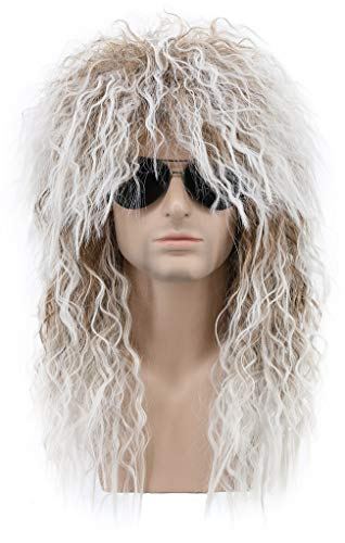 Karlery Men and Women Long Curly Brown Gradient White 70s Heavy Metal Rocker Mullet Wig 80s Costume Anime Wig -